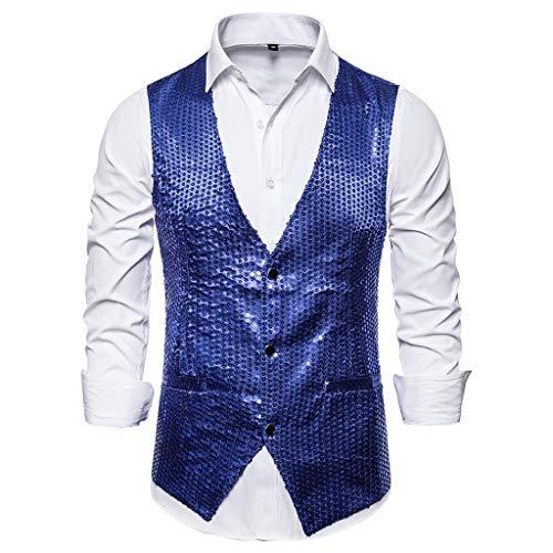 HEETEY Sudadera con capucha para hombre, moda para hombre, traje chaleco ajustado, chaleco de boda sin mangas con lentejuelas, traje de rendimiento chaleco de boda chaleco