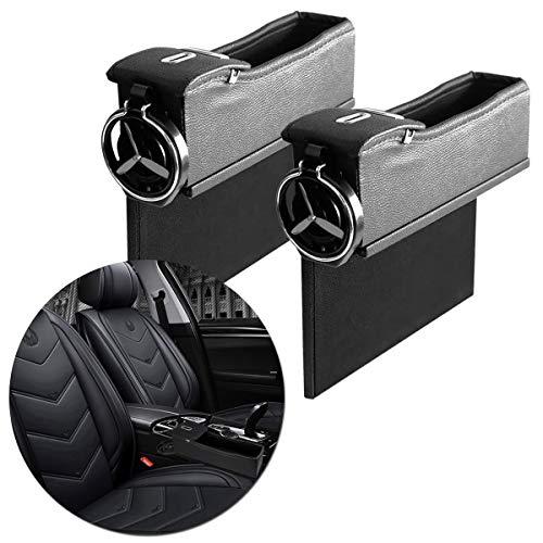 VaygWay Coin Side Pocket Organizer – Car Cup Holder Gap Filler– 2 Pack Black Auto Console – Wallet Keys Cellphone Glasses Storage