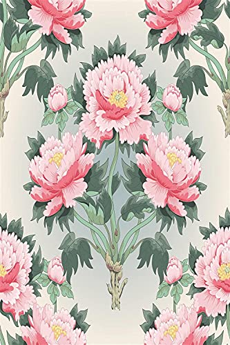 LKAZLL DIY Oil Painting Paint by Number Kits Canvas Acrylic Adults Kids Arts for Home Wall Decor Pink Beautiful Peony Tree 40x50 cm