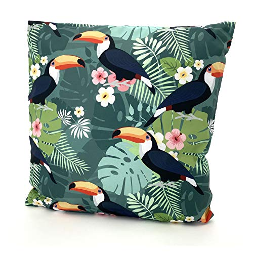 heimtexland  Outdoor Cushion Tropical Decorative Lotus Effect Dirt and Water Repellent Garden Outdoor Cushion 45 x 45 cm Type 688 (Pelican )