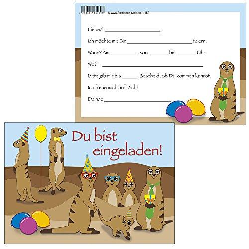 """10 Einladungskarten Erdmännchen\""""Du bist eingeladen\"""" + 1 Schreibblock witzige Erdmännchen 1152-10+7170"""