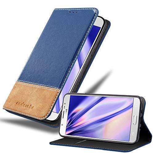 Cadorabo Hülle für Samsung Galaxy J7 2016 (6) - Hülle in BLAU BRAUN – Handyhülle mit Standfunktion & Kartenfach aus Einer Kunstlederkombi - Hülle Cover Schutzhülle Etui Tasche Book
