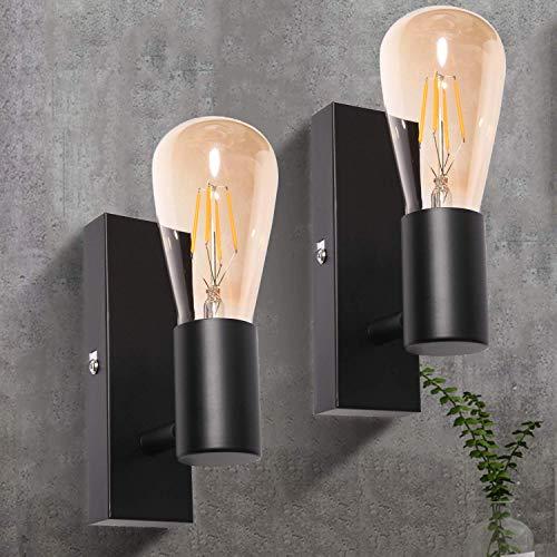 Aplique de pared Interior Negro Ketom Moderno Lampara de Pared LED E27 Lámpara de Metall, para Corredor Oficina Restaurante Lámpara de Salón Café Bar Loft 2 Piezas