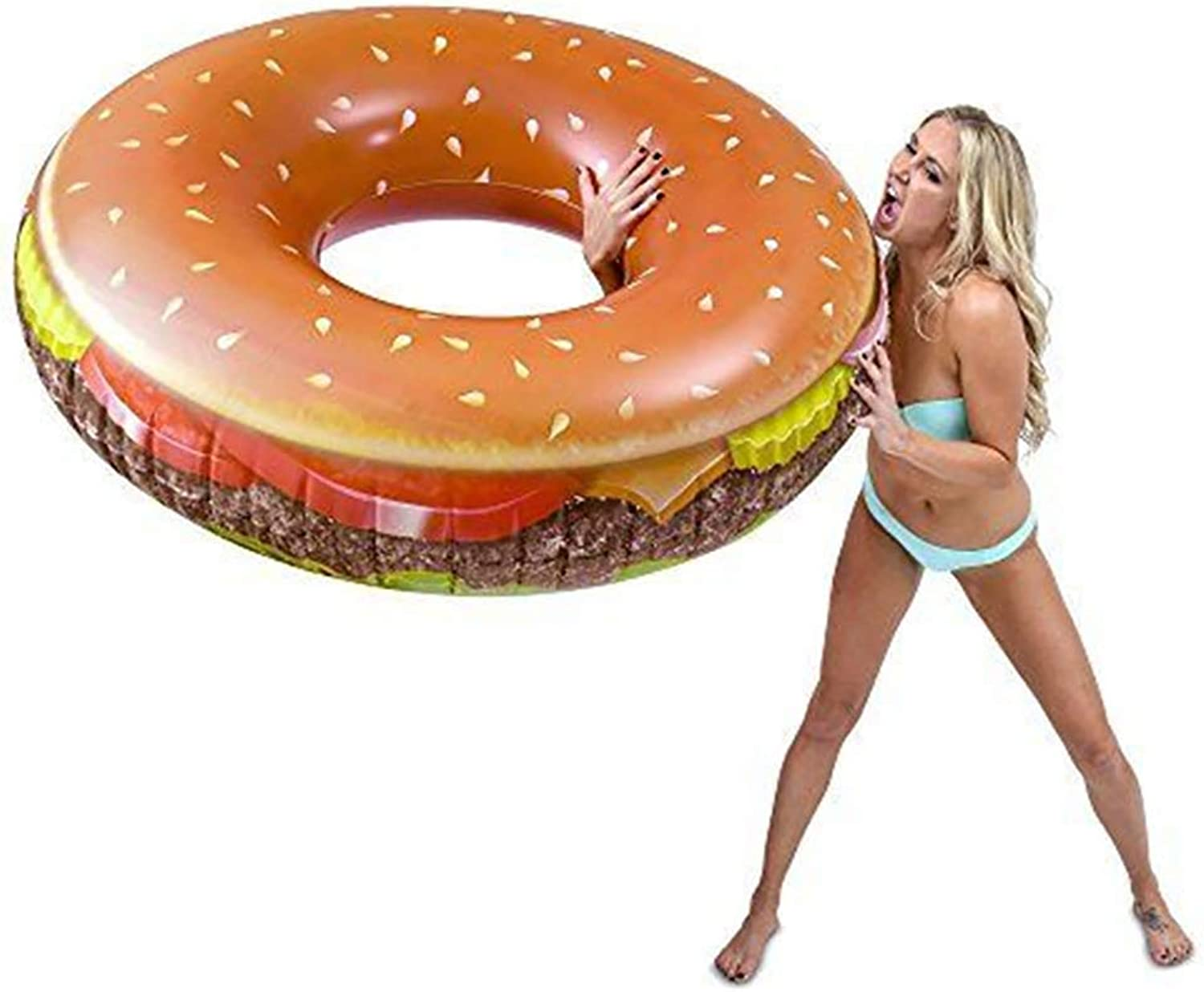 Pool Float Ball, Burger Inflatable Floating Bed Toy (110 x 35 cm)
