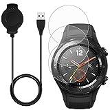 Para Huawei Watch 2 Charger, con 3 protectores de pantalla, AFUNTA 3 pies/1m cable de carga de repuesto soporte de base con vidrio templado para Huawei Watch 2 Classic Sport Smart Watch-Negro