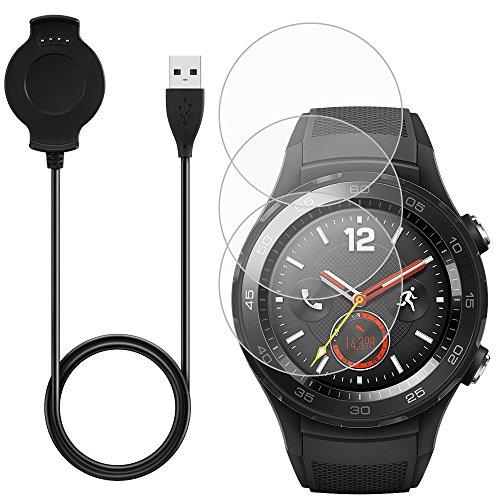 AFUNTA Cargador & ----3 Pcs Protector de Pantalla para Huawei Smart Watch 2, Reemplazo Cargador Cable Base con Repuesto Vidrio Templado Antiarañazos Protectores