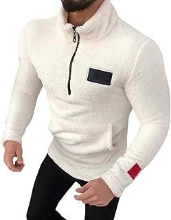 Sunward Coat for Men,Men's Zipper Pure-Colour Sanitary Clothes Fleece Pullover Blouse