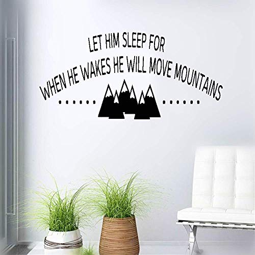 stickers muraux bebe juju et compagnie Let Him Sleep For When He Wakes He Will Move Mountains For Boys Room Nursery Kids Room Home Decor