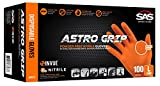 SAS Safety 66573 Astro Grip Powder-Free Nitrile Disposable Glove, Large, Pack of 100