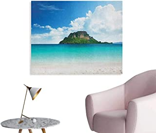 Anzhutwelve Island Art Decor Decals Stickers Poda Island in Thailand South Asian Tropic Paradise Hot Sun with Clouds Photo Funny Poster Blue White Cream W36 xL24