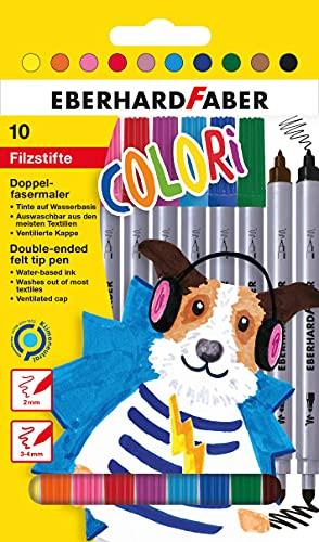 Eberhard Faber 550010 - Pennarelli Colori in 10 colori brillanti, penne a...