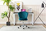 Modern Velvet Armless Office Desk Chair, Swivel Tufted Task Chair with Adjustable Height, Upholstered Recliner Executive Computer Chair for Home Office and Living Room (Teal)