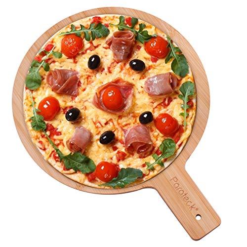 Pizzabrett Bambus 30cm Schneidebrett Servierbrett mit Griff Flammkuchenbrett Pizzateller Pizzaschieber Brett für Steak Kuchen Pizza Antipasti Obst