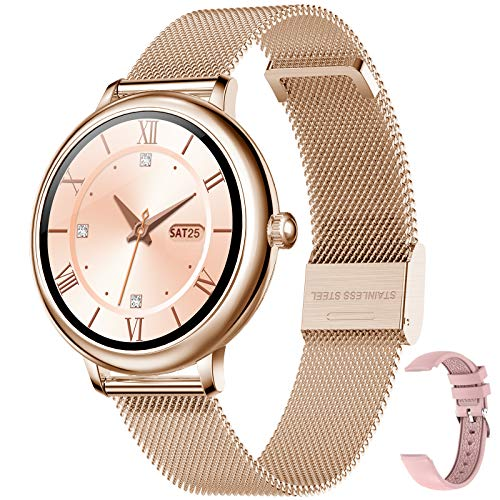 Reloj Inteligente Smartwatch Fitness Tracker IP67 Impermeable Salud Seportes con Frecuencia Cardíaca, Presión Arterial, Sueño, Contador de Calorías, Podómetro, Recordatorio SMS iOS Android (Oro)