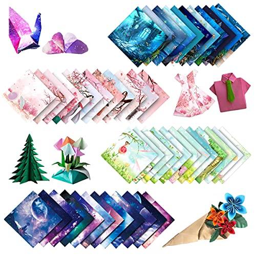 200 piezas de papel de origami de colores, fondos marinos, flores, Sakura, planeta, para proyectos de arte y manualidades (15 x 15)