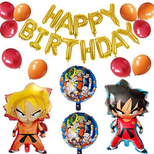 Decoración de Globos de Fiesta de Dragon Ball, Decoración de Fiesta de Cumpleaños para Niños, Globos de Papel de Aluminio de Dibujos Animados de Dragon Ball Goku, Cartel de Feliz Cumpleaños