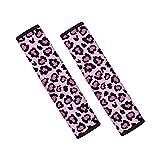 UOIMAG Fundas de cinturón de seguridad con estampado de leopardo rosa para mochilas de coches, accesorios interiores universales para vehículos almohadillas de cinturón de seguridad 2 piezas
