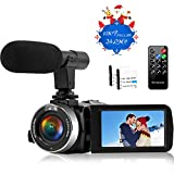 Camcorder Video Camera Full HD 1080P 30FPS 24.0MP Night Vision Camera for YouTube Video Camera Camcorders with Remote Control and Microphone