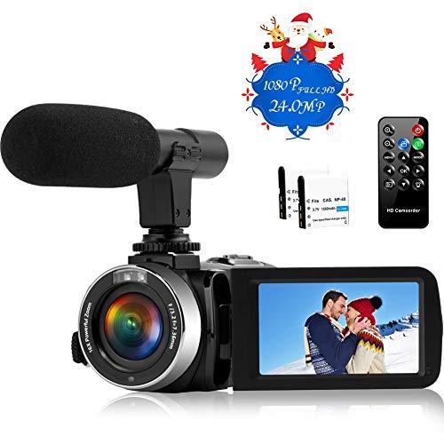 Videokamera Camcorder Full HD 1080P Camcorder mit Mikrofon 16X Digital Zoom Vlogging Kamera für YouTube, 3.0