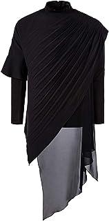 AOWOFS Men's Long Sleeve T-Shirt Fashion Hooded Stitching Irregular Hem Casual T-Shirt