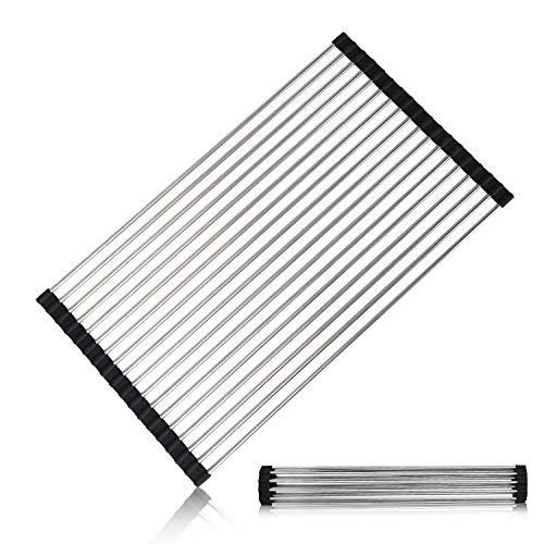 HSR Escurreplatos plegable | Escurreplatos de acero inoxidable resistente para vajilla, platos, tazas y botellas (negro)