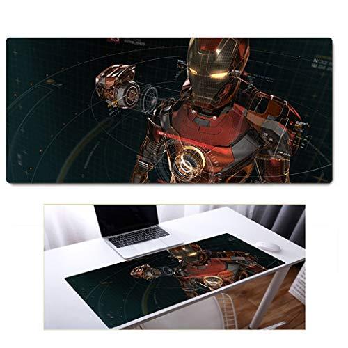 DCDZ Caucho Hierro De Armadura Stark Industrial Marvel Iron Man Alfombrilla De Ratón, Oficina del Juego Mouse Pads (Vengadores Liga) Lavable Y No Tóxico Y Sin Olor (Color : E, Size : 60X30X0.3CM)