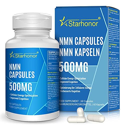 NMN Supplements 500mg Capsule, Starhonor Pure Nicotinamide Mononucleotide - NAD+ Energy Booster & Anti-Aging & Antioxidant, Energy Metabolism, Vegan Friendly (60 Capsules, Pack of 1)