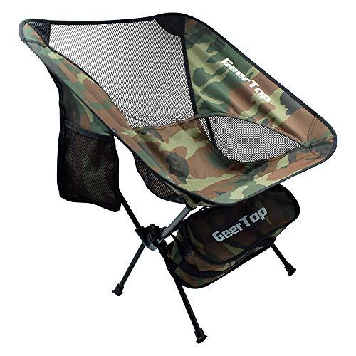 GEERTOP Ultraleichter Klappbarer Campingstuhl Tragbarer Outdoorstuhl Angelstuhl Klapphocker mit Aufbewahrungstasche Kompakt für Wandern Reise
