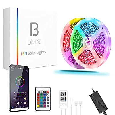 Blure LED Light Strips 50FT, Smart App Controlled Led Lights with Music Sync for Bedroom, RGB 5050 Color Changing LED Light Strips with 24 Key Remote & 12V Power Supply for Home Decor, TV, Party.