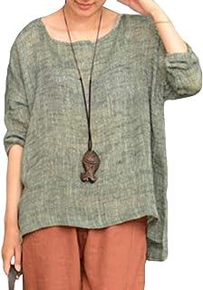 YIhujiuben Women's Top Casual Loose Short Sleeve Cotton and Linen T-Shirts Blouse