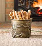 Plow & Hearth Pine Cone Cast Aluminum Fatwood Bucket with 5 lbs. Fatwood