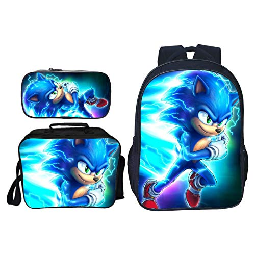 Sonic Bookbag Schoolbag 16' Backpack with Insulated Lunch Box Pencil Case for Boys Girls (Sonic-4)