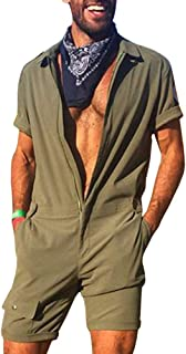 Mens Jumpsuit Shorts One Piece Short Sleeve Summer Onesie Casual Sporty Regular Fit Fashion Mens Romper