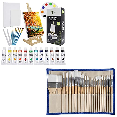 CONDA Paint Brushes Set of 24 Different Shapes and 26 Pcs Acrylic Painting Supplies Kit,