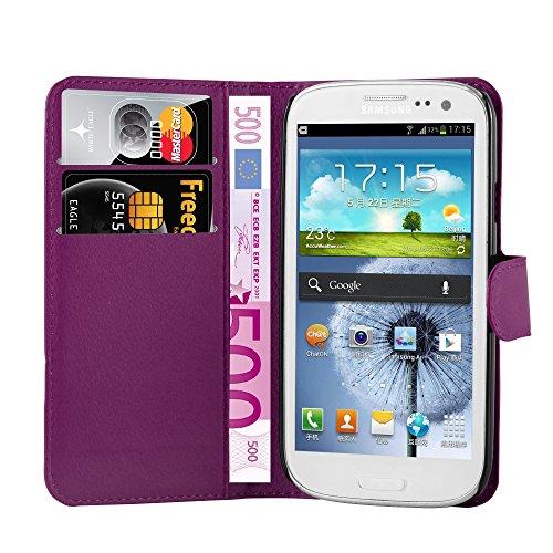 Cadorabo Hülle für Samsung Galaxy S3 Mini - Hülle in Mangan VIOLETT – Handyhülle mit Kartenfach und Standfunktion - Case Cover Schutzhülle Etui Tasche Book Klapp Style