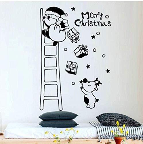 Muurstickers Art Decal Vinyl Murals Vrolijk Kerstmis Kerstman Klimmen Ladder Rood Wit Zwart Venster Deur Achtergrond