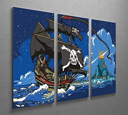 Cuadro Pared Pintura Decor Moderna Tríptico 3 Piezas Impresión Lienzo Decor Hogar Sala Estar Dormitorio Infantil Corredor Mural Regalo 50x70x3(Marco) Hora Aventura Navegación En Barco Pirata
