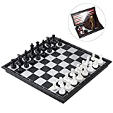 iBaseToy Magnetic Travel Chess Set 3 in 1 Chess Checkers Backgammon Set for Adults Kids Folding Portable Chess...