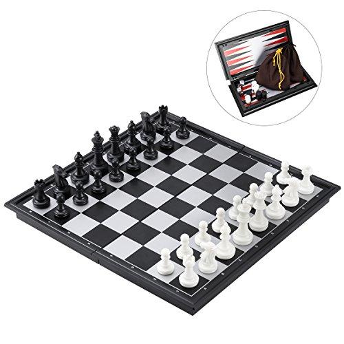 iBaseToy 3 in 1 Schachspiel Magnetisch Dame Spiel Backgammon für Kinder und Erwachsene, Reise Klein Schach mit Klappbar Schachbrett 25 x 25cm