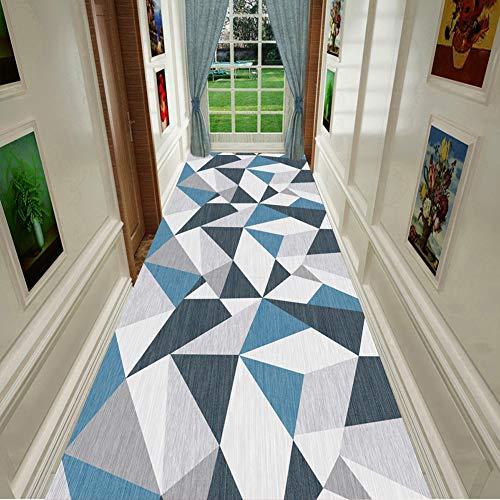 L&KW Alfombras de Pasillo Azul y Gris Geométrico Moderno Triángulo Patrón Corredor Área Suave cobertizo Fácil de Limpiar Resistente a Las Manchas, 60cm / 80cm / 100cm / 120cm Ancho
