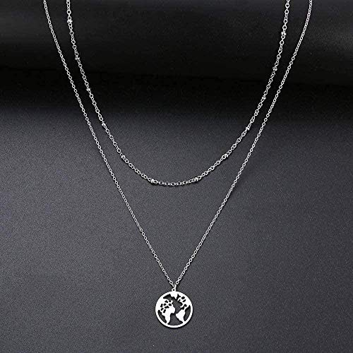quanjiafu Necklace Heart/World Map/Stick/Star/Cross Choker Necklace for Women Multi-Layer Bead Chocker Gold Color Stainless Steel Jewelry Necklace