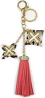 バッグチャーム モノグラム&タッセル ラインストーン スェードタッセル ストラップ プレゼント スマホ 携帯 キーホルダー ピンク