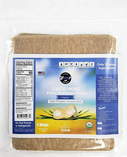 Organic Coconut Wraps, Coco Nori Original (Raw, Vegan, Paleo, Gluten Free wraps) Made from young Thai Coconuts