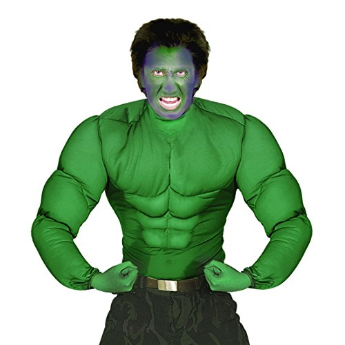 NET TOYS Superhelden Kostüm Hulk Muskelkostüm L 52 Comic Muskel Shirt grün Superheldenkostüm Sixpack Superheld Verkleidung Halloween Outfit Karnevalskostüme Herren