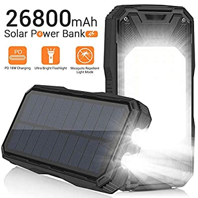 Solar Charger 26800mAh, Portable Solar Power Bank USB C PD 18W Fast Charger with Ultra Bright 2 Flashlights and 60 LEDs Panel Light, Waterproof External Battery Pack for Camping Outdoor (Black)
