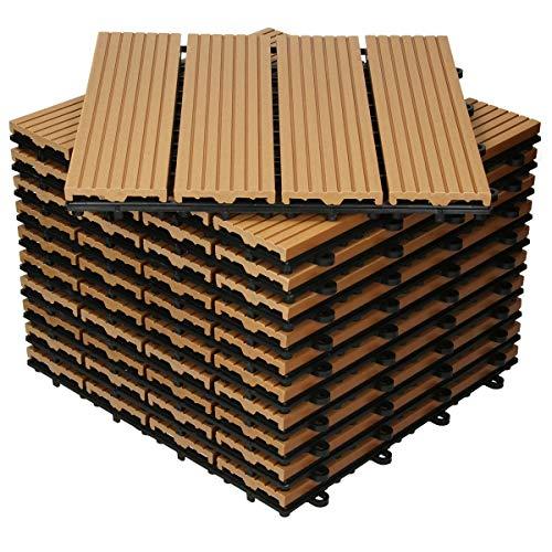 ECD Germany WPC Terrassenfliesen 30x30 cm 55er Spar Set für 5m² Teak in Holzoptik für Garten Balkon Bodenbelag mit Drainage und Klicksystem Terrassendielen Balkonfliesen Klickfliesen Holzfliesen