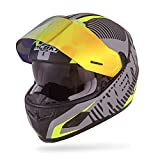 NENKI Helmets NK-856 Full Face Motorcycle Helmets DOT Approved with Iridium Red Visor and Inner Sun Shield,Fiberglass Shell(L,Matt Black & Fluo Yellow)