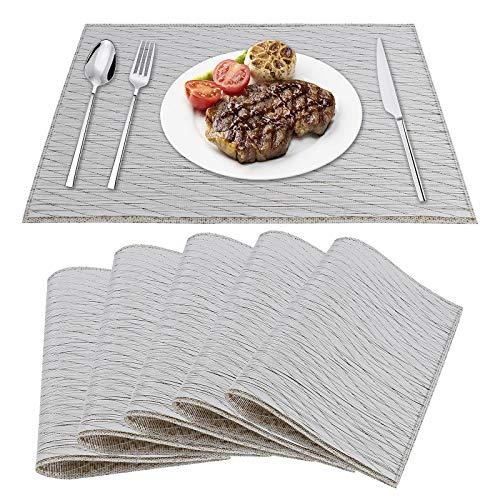 Tischset PVC Platzset 6er rutschfest Abwaschbar Vinyl Abgrifffeste Hitzebeständig Platzdeckchen für Zuhause Restaurant Speisetisch 45*30cm Grau+Gold