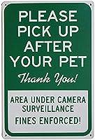 安全標識-通知標識-ペットの後に拾ってください、ありがとう。 庭の庭のための金属錫サインアートの装飾