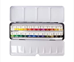 Mungyo Professional Half Pan Size Water Colors Set in Tin Case/Integral Mixing Palette in The lid 24 Colors